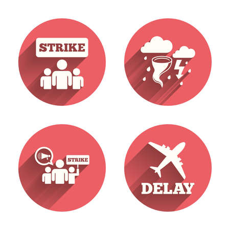 shadow people: Strike icon. Storm bad weather and group of people signs. Delayed flight symbol. Pink circles flat buttons with shadow. Vector