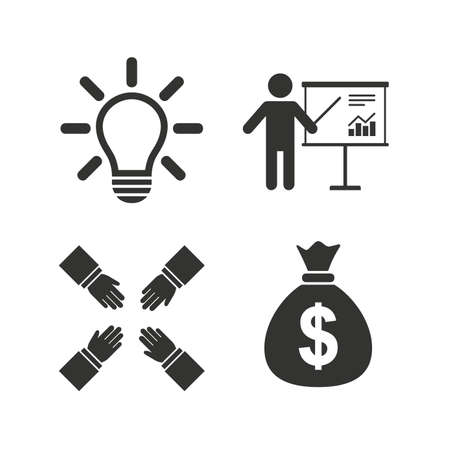 standing lamp: Presentation billboard icon. Dollar cash money and lamp idea signs. Man standing with pointer. Teamwork symbol. Flat icons on white. Vector Illustration