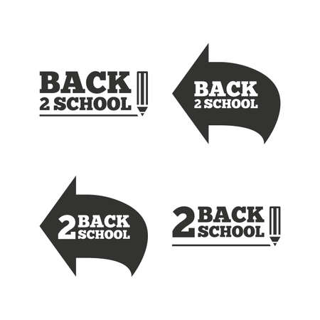 vector studies: Back to school icons. Studies after the holidays signs. Pencil symbol. Flat icons on white. Vector