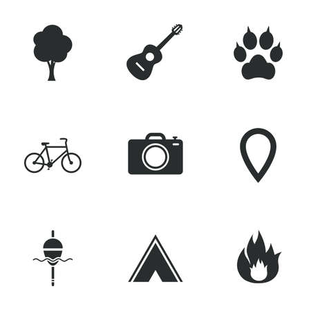 clutches: Tourism, camping icons. Fishing, fire and bike signs. Guitar music, photo camera and paw with clutches. Flat icons on white. Vector