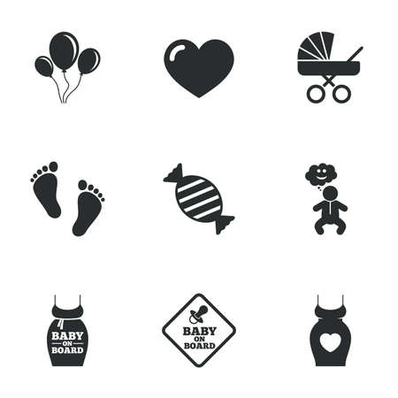 maternity: Pregnancy, maternity and baby care icons. Newborn, strollers and pacifier signs. Footprint, candy and love symbols. Flat icons on white. Vector Illustration
