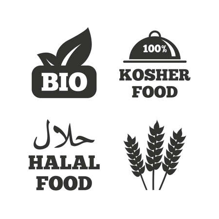 kosher: Natural Bio food icons. Halal and 100% Kosher signs. Gluten free agricultural symbol. Flat icons on white. Vector