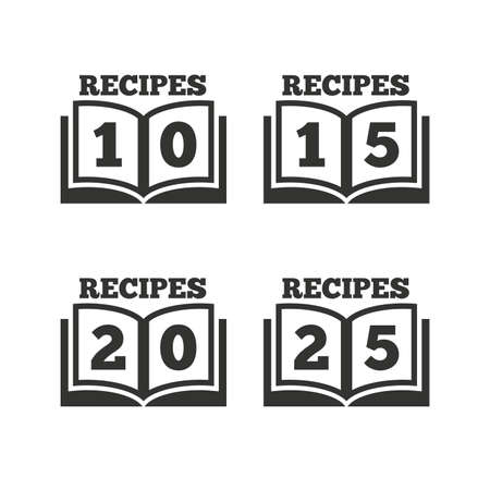 15 20: Cookbook icons. 10, 15, 20 and 25 recipes book sign symbols. Flat icons on white. Vector
