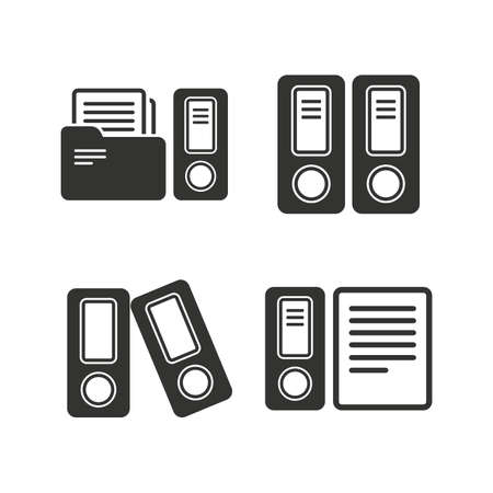 accountancy: Accounting icons. Document storage in folders sign symbols. Flat icons on white. Vector
