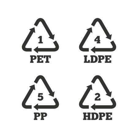 PET 1, Ld-pe 4, 5 PP en Hd-pe 2 iconen. High-density polyethyleen tereftalaat teken. Recycling symbool. Vlakke pictogrammen op wit. Vector