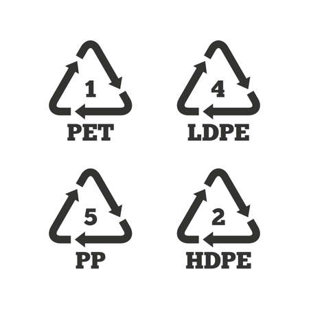 pp: PET 1, Ld-pe 4, PP 5 and Hd-pe 2 icons. High-density Polyethylene terephthalate sign. Recycling symbol. Flat icons on white. Vector