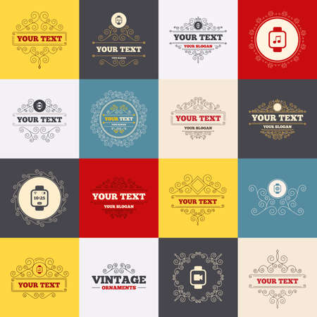 watch video: Vintage frames, labels. Smart watch icons. Wrist digital time watch symbols. Music, Video, Globe internet and wi-fi signs. Scroll elements. Vector