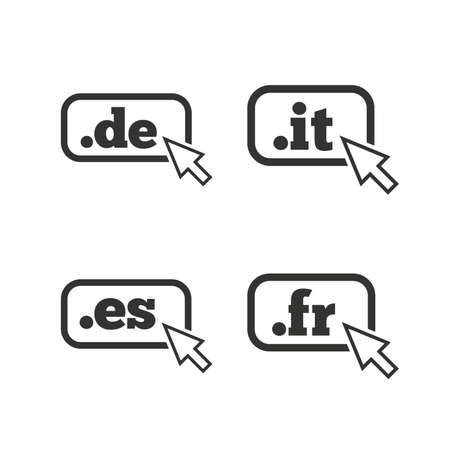 vector es: Top-level internet domain icons. De, It, Es and Fr symbols with cursor pointer. Unique national DNS names. Flat icons on white. Vector
