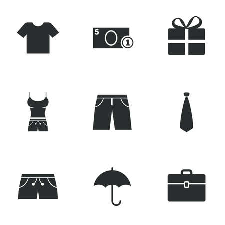business case: Clothing, accessories icons. T-shirt, business case signs. Umbrella and gift box symbols. Flat icons on white. Vector Illustration