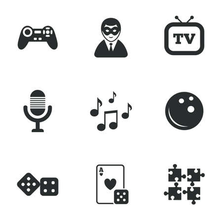 entertainment icon: Entertainment icons. Game, bowling and puzzle signs. Casino, carnival and musical note symbols. Flat icons on white. Vector