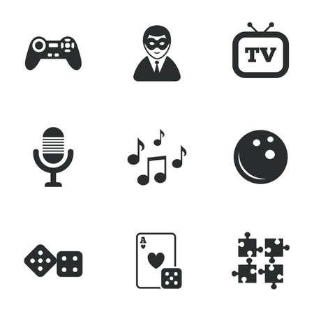 bolos: Iconos Entretenimiento. Juego, bolos y rompecabezas signos. Casino, carnaval y los símbolos de la nota musical. Iconos planos en blanco. Vector