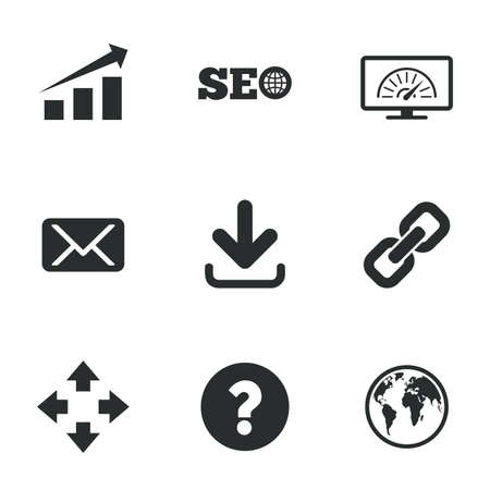 bandwidth: Internet, seo icons. Bandwidth speed, download arrow and mail signs. Hyperlink, monitoring symbols. Flat icons on white. Vector