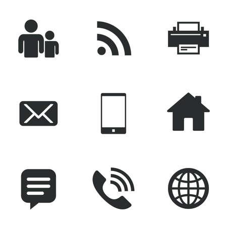 연락처, 메일 아이콘. 통신 표지판입니다. E 메일, 메시지 및 전화 문자 채팅. 흰색 플랫 아이콘. 벡터