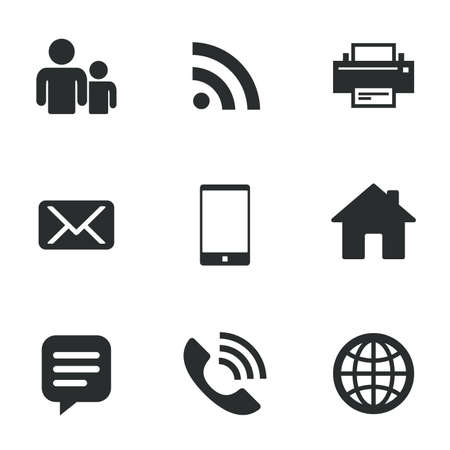 communication icons: Contact, mail icons. Communication signs. E-mail, chat message and phone call symbols. Flat icons on white. Vector