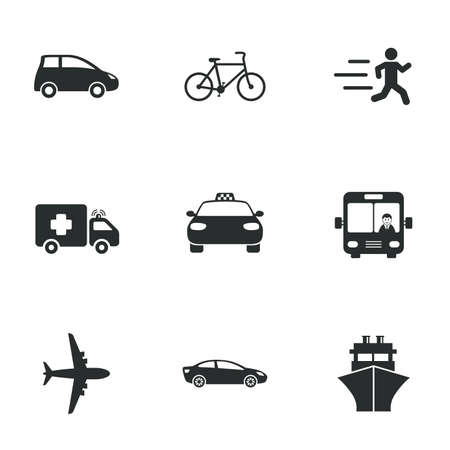 iconos de transporte: Transport icons. Car, bike, bus and taxi signs. Shipping delivery, ambulance symbols. Flat icons on white. Vector