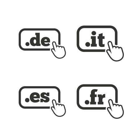 vector es: Top-level internet domain icons. De, It, Es and Fr symbols with hand pointer. Unique national DNS names. Flat icons on white. Vector