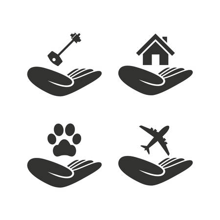 shelter: Helping hands icons. Shelter for dogs symbol. Home house or real estate and key signs. Flight trip insurance. Flat icons on white. Vector