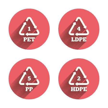 polyethylene: PET 1, Ld-pe 4, PP 5 and Hd-pe 2 icons. High-density Polyethylene terephthalate sign. Recycling symbol. Pink circles flat buttons with shadow. Vector