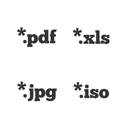 xls: Document icons. File extensions symbols. PDF, XLS, JPG and ISO virtual drive signs. Flat icons on white. Vector