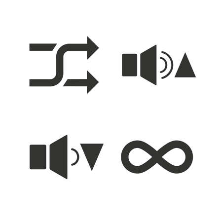 quieter: Player control icons. Sound louder and quieter signs. Dynamic symbol. Shuffle random and repeat loop. Flat icons on white. Vector