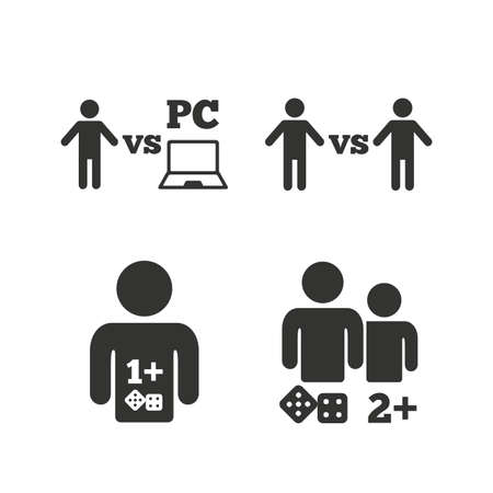 pc icon: Gamer icons. Board and PC games players signs. Player vs PC symbol. Flat icons on white. Vector