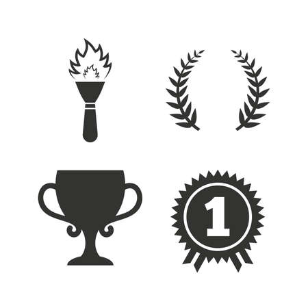 fire place: First place award cup icons. Laurel wreath sign. Torch fire flame symbol. Prize for winner. Flat icons on white. Vector