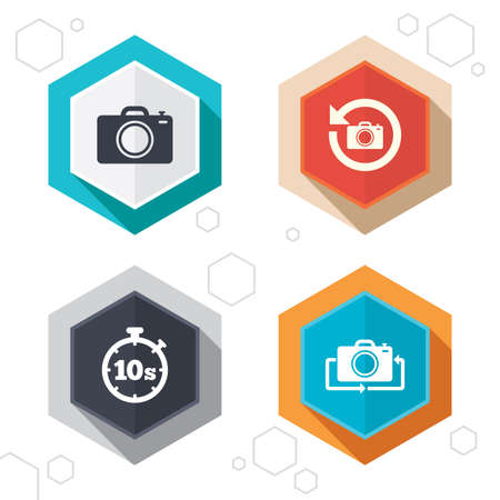 seconds: Hexagon buttons. Photo camera icon. Flip turn or refresh symbols. Stopwatch timer 10 seconds sign. Labels with shadow. Vector