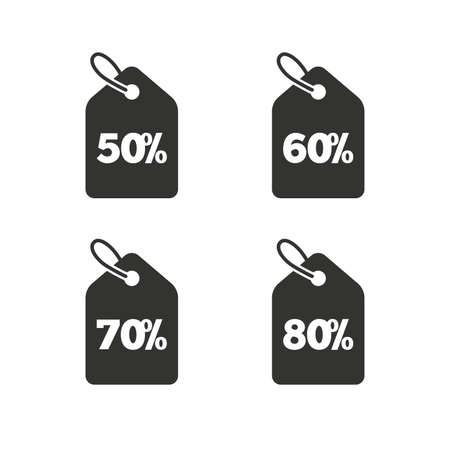 info button: Sale price tag icons. Discount special offer symbols. 50%, 60%, 70% and 80% percent discount signs. Flat icons on white. Vector