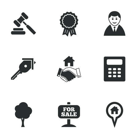 sale icons: Real estate, auction icons. Handshake, for sale and calculator signs. Key, tree and award medal symbols. Flat icons on white. Vector
