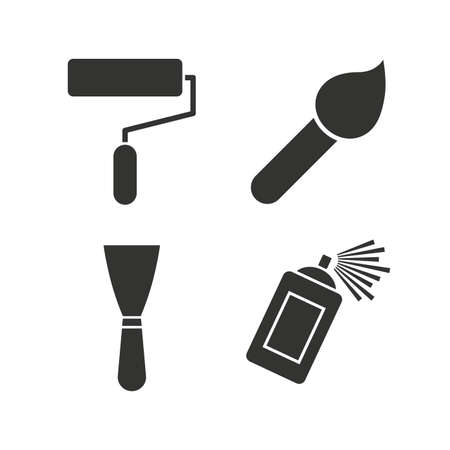 paint can: Paint roller, brush icons. Spray can and Spatula signs. Wall repair tool and painting symbol. Flat icons on white. Vector