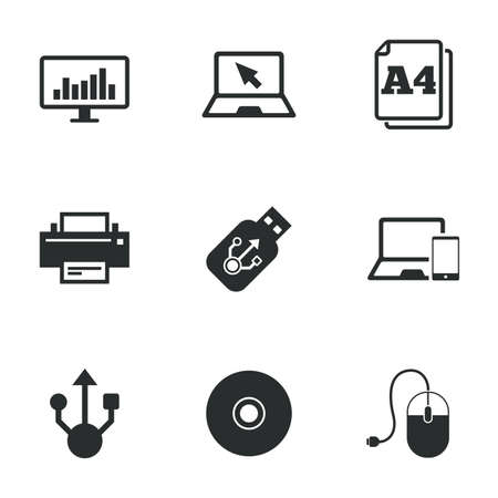 computer devices: Computer devices icons. Printer, laptop signs. Smartphone, monitor and usb symbols. Flat icons on white. Vector