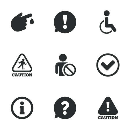 wet floor caution sign: Caution and attention icons. Question mark and information signs. Injury and disabled person symbols. Flat icons on white. Vector