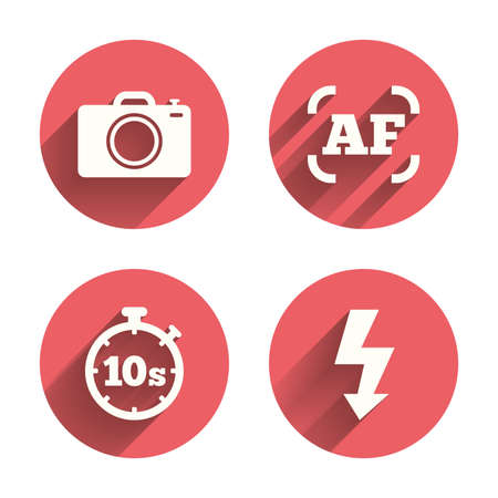 autofocus: Photo camera icon. Flash light and autofocus AF symbols. Stopwatch timer 10 seconds sign. Pink circles flat buttons with shadow. Vector