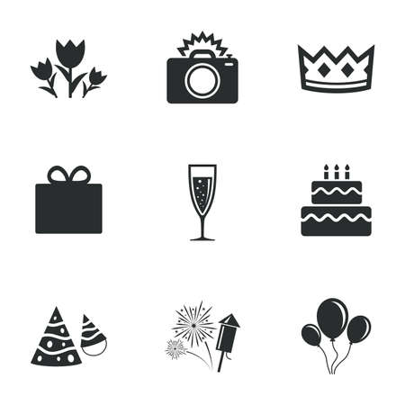 white party: Party celebration, birthday icons. Fireworks, air balloon and champagne glass signs. Gift box, flowers and photo camera symbols. Flat icons on white. Vector Illustration