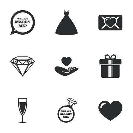 oath: Wedding, engagement icons. Love oath letter, gift box and brilliant signs. Dress, heart and champagne glass symbols. Flat icons on white. Vector Illustration