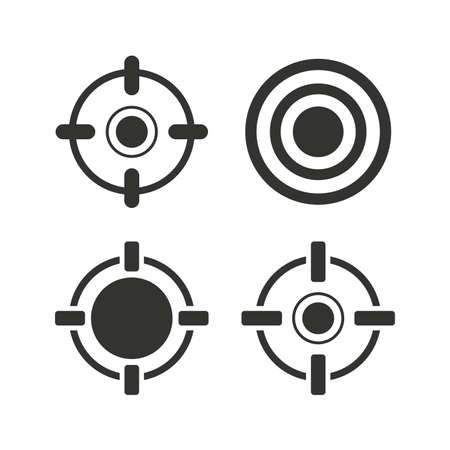sights: Crosshair icons. Target aim signs symbols. Weapon gun sights for shooting range. Flat icons on white. Vector
