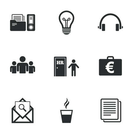 office documents: Office, documents and business icons. Accounting, human resources and group signs. Mail, ideas and money case symbols. Flat icons on white. Vector Illustration