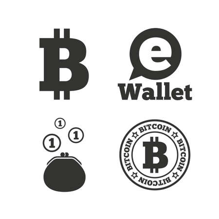 p2p: Bitcoin icons. Electronic wallet sign. Cash money symbol. Flat icons on white. Vector Illustration
