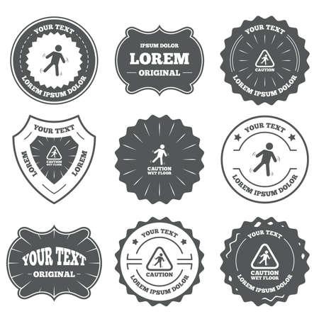 wet floor caution sign: Emblemas vintage, etiquetas. Precauci�n iconos de piso mojado. Caer humano s�mbolo tri�ngulo. Signo de superficie resbaladiza. Los elementos de dise�o. Vector