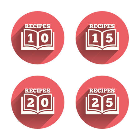 15 20: Cookbook icons. 10, 15, 20 and 25 recipes book sign symbols. Pink circles flat buttons with shadow. Vector Illustration