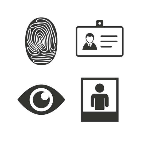 symbol icon: Identity ID card badge icons. Eye and fingerprint symbols. Authentication signs. Photo frame with human person. Flat icons on white. Vector Illustration