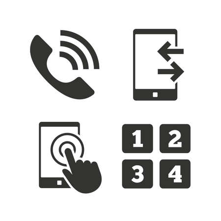 touch screen phone: Phone icons. Touch screen smartphone sign. Call center support symbol. Cellphone keyboard symbol. Incoming and outcoming calls. Flat icons on white. Vector