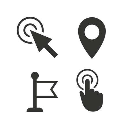마우스 커서 아이콘입니다. 손 또는 신고 포인터 기호입니다. 지도 위치 마커 기호입니다. 화이트 플랫 아이콘. 벡터