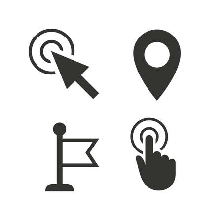 Mouse cursor icon. Hand or Flag pointer symbols. Map location marker sign. Flat icons on white. Vector