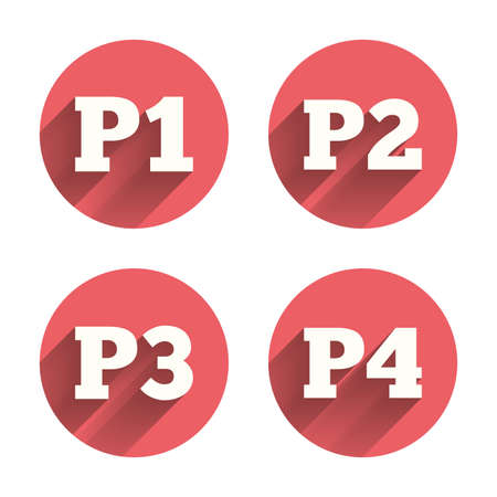 second floor: Car parking icons. First, second, third and four floor signs. P1, P2, P3 and P4 symbols. Pink circles flat buttons with shadow. Vector Illustration