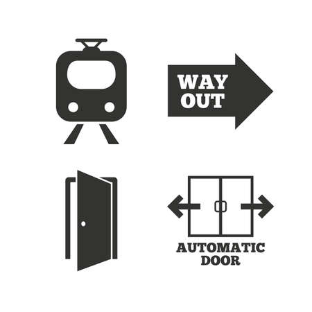 way out: Train railway icon. Automatic door symbol. Way out arrow sign. Flat icons on white. Vector Illustration