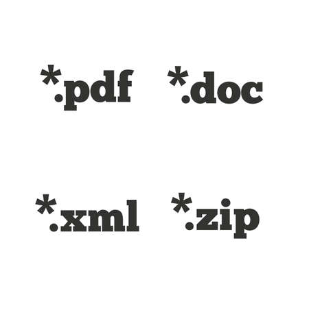 extensions: Document icons. File extensions symbols. PDF, ZIP zipped, XML and DOC signs. Flat icons on white. Vector