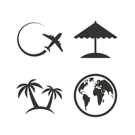 airplane world: Travel trip icon. Airplane, world globe symbols. Palm tree and Beach umbrella signs. Flat icons on white. Vector Illustration