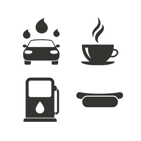 hotdog sandwiches: Petrol or Gas station services icons. Automated car wash signs. Hotdog sandwich and hot coffee cup symbols. Flat icons on white. Vector Illustration