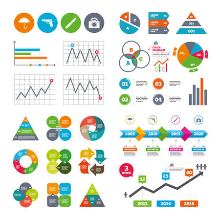 edged: Business data pie charts graphs. Gun weapon icon.Knife, umbrella and photo camera with flash signs. Edged hunting equipment. Prohibition objects. Market report presentation. Vector Illustration